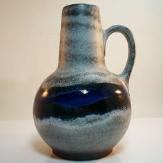 West german pottery vase made by Steuler with a fat lava glaze