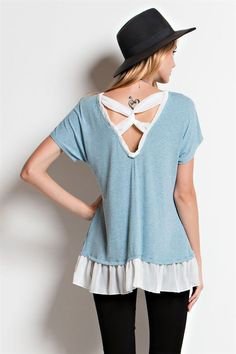Serenity Tee by Easel clothing, free people, anthropolgie, boho style, bohemian fashion. Tunic top with short dolman sleeves.  V neck trimmed with contrast chiffon also at ruffeled hemline & twist detail at scoop back. Spandex, Polyester, Rayon