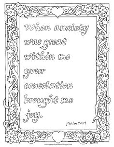 Coloring Pages for Kids by Mr. Adron: Psalm Bible Verse of Comfort Coloring Page People Coloring Pages, Detailed Coloring Pages, Love Coloring Pages, Adult Coloring Book Pages, Free Printable Coloring Pages, Free Coloring, Coloring Sheets, Sunday School Songs, Bible Verse Coloring Page