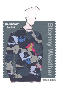 Fabrice Tardieu in Pantone Stormy Weather - FALL 2015 PANTONE's FashionColorReport