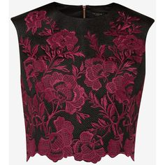 Ted Baker Embroidered mesh lace cropped top (415 BRL) ❤ liked on Polyvore featuring tops, crop tops, shirts, crop, purple shirt, floral crop tops, embroidered mesh top, floral sleeveless top and mesh crop top