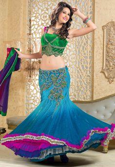Shaded Light Blue Net Readymade Lehenga Choli with Dupatta