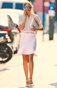 Olivia Palermo wearing Rolex Oyster Perpetual Datejust watch Aryn K. Flip Skirt in White Westward Leaning N9.2. Color Revolution Sunglasses in Blue and White Truth or Dare By Madonna Lodie Pumps Tibi Hexadot Peekaboo Blouse Smythson Cooper IPad Clutch in Clementine/White
