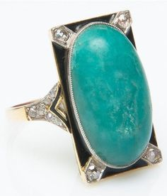 An Art Deco gold, enamel, cabochon aventurine and rose-cut diamond ring. #ArtDeco #ring