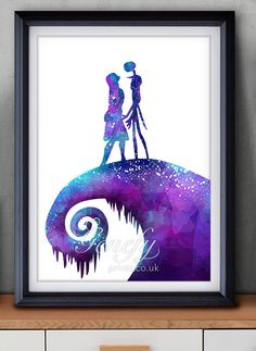 The Nightmare Before Christmas Jack and Sally Watercolor Poster Print - Watercolor Painting - Watercolor Art - Halloween - Thanksgiving