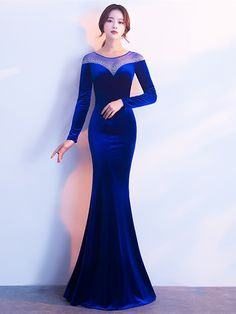 Mermaid Velvet Beading Long Sleeves Evening Dress Fashion girls, party dresses long dress for short Women, casual summer outfit ideas, party dresses Fashion Trends, Latest Fashion # Evening Dresses With Sleeves, Mermaid Evening Dresses, Evening Gowns, Best Prom Dresses, Homecoming Dresses, Cute Dresses, Long Dresses, Party Dresses, Perfect Prom Dress