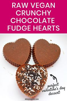 These fudgy chocolate hearts are the ultimate Valentine's Day Dessert. They're so rich and chocolatey, you'd never guess they're also entirely vegan too! #rawvegan #vegandessert #valentinesday #chocolate Vegan Baking Recipes, Best Vegan Recipes, Fudge Recipes, Chocolate Hearts, Chocolate Fudge, Vegan Chocolate, Healthy Sweets, Healthy Dessert Recipes, Vegan Desserts