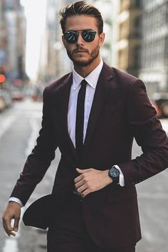 thelavishsociety: The Burgandy Suit av Adam Gallagher Mens Fashion Suits, Mens Suits, Mens Casual Suits, Fashion Menswear, Traje Slim Fit, Suits Direct, Terno Slim, Hugo Boss Suit, Hugo Boss Men