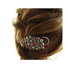 SODIAL- Lovely Vintage Jewelry Crystal Peacock Hair Clip