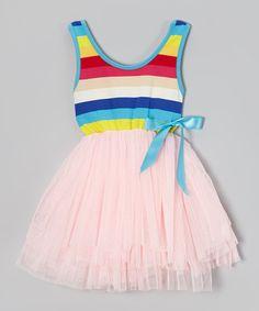 Another great find on #zulily! Pink Rainbow Stripe Tutu Dress - Toddler & Girls by Di Vani #zulilyfinds