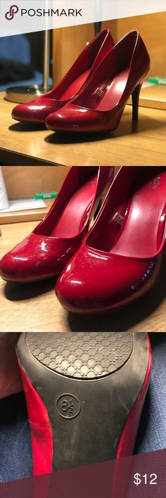 Red Heels looking to rehome these beauties!! purchased them for a halloween costume but i'll probably never wear them again. please make an offer if you really want them!!! they're super cute and not too tall! Mossimo Supply Co. Shoes Heels