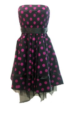 H London Prom Dress Big Purple Spot | Gothic Clothing | Emo clothing | Alternative clothing | Punk clothing - Chaotic Clothing