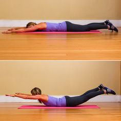 The Superman is a simple, no-equipment-needed exercise that helps keep your back strong and butt toned. Here's how to do it: Start by lying down on the mat, belly down. Extend your arms above your head. Lift your upper back and legs, and hold for five seconds, squeezing your glutes. Lower back down. Repeat for 10 reps; then stretch your back out in Child's Pose between sets. Source: Megan Wolfe Photography