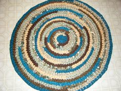 Brown and Teal Rug  For Etsy by Karenhugheskreations on Etsy, $65.00