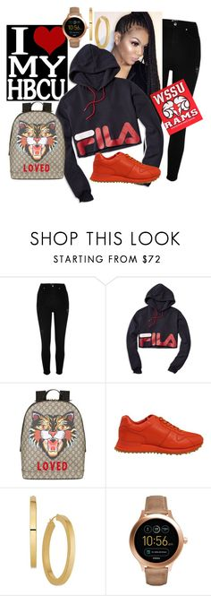 """""""School Daze"""" by monicalyn ❤ liked on Polyvore featuring River Island, Fila, Gucci, Louis Vuitton and FOSSIL"""