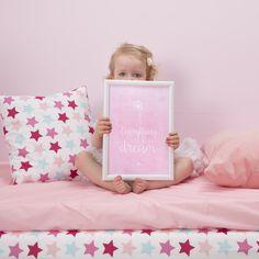 Little Dutch ★ Poster & cards ★ #littledutch #littlegirl #pink #stars #mixedstarspink #blond #mint