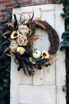 White Pumpkin wreath for Front Door, Fall Door Wreath, Sunflower wreath, Rustic Farmhouse Fall wreat Farmhouse Fall Wreath, Rustic Farmhouse, Farmhouse Front, Double Door Wreaths, Pumpkin Wreath, Front Door Design, Sunflower Wreaths, Fall Door, Thanksgiving Decorations