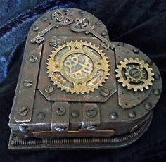 Steampunk heart shaped trinket box