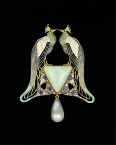 Pendant Artist: René-Jules Lalique (French, Aÿ 1860–1945 Paris) Date: ca. 1901 Culture: French, Paris Medium: Gold, enamel, opal, pearl, diamonds
