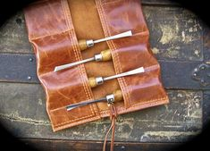 Small Cognac Leather Tool Roll for Wood Carvers by HbarNCraftworks