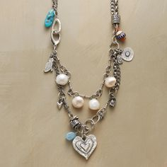 """TRUE HEART NECKLACE--For the spirit that shines true—a down-to-earth yet elegant trade bead necklace handmade by Jes MaHarry with hand-sculpted sterling charms, plump pearls, turquoise and rare trade beads. Sterling silver chain and clasp. USA. Exclusive.  22""""L."""