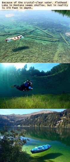 Flathead Lake, Montana. This would be awesome, but I also think it would freak me out a little to swim in it.