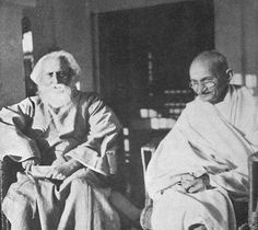 Mahatma Gandhi with Rabindranath Tagore. Gandhi fought for India's freedom from the British and is considered the Father of the Nation. Rabindranath Tagore of Calcutta was a Nobel Prize winning scholar. He started the school called 'Shanthi Niketan'. Rabindranath Tagore, Karl Marx, Charles Darwin, Hermann Hesse, Friedrich Nietzsche, Nelson Mandela, Sigmund Freud, Salvador Dali, Indira Ghandi