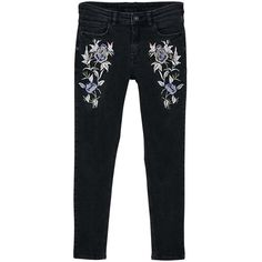 Embroidered Isa Skinny Jeans ($20) ❤ liked on Polyvore featuring jeans, black denim, skinny fit jeans, denim skinny jeans, cropped skinny jeans, cropped jeans and skinny leg jeans