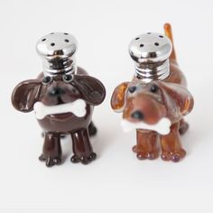Dogs with Bones Salt & Pepper Shaker Set by Lucky Duck Glass – Harvest Gold Gallery