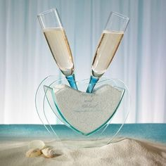 beach wedding glasses   Coastal Mist Toasting Glasses with Vase and Sand   Creative Wedding