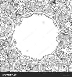 stock-vector-abstract-hand-drawn-zentangle-style-frame-doodle-art-decorative-border-337586135.jpg (1500×1600)