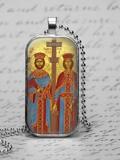 Saint Helen Constantine Glass Tile Pendant Greek Orthodox Icon