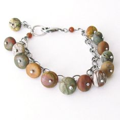 Red Creek Jasper Bracelet Oxidized Sterling Silver Stamped Hill Tribe Silver Summer Fashion Natural Stone Jewelry