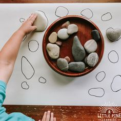 A simple stone activity to try today! A simple stone activity to try today! , A simple stone activity to try today! A simple stone activity to try today! Montessori Activities, Infant Activities, Learning Activities, Learning Shapes, Nature Activities, Montessori Toddler, Autumn Eyfs Activities, Outdoor Preschool Activities, Visual Motor Activities