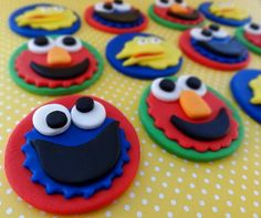 12 Fondant Edible Cupcake Topper  Sesame str by TopCakeDecors, $26.00
