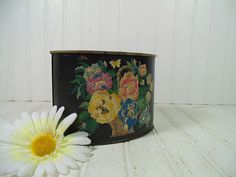 Vintage Paint By Number Black Metal Desk Bin by DivineOrders, $12.00