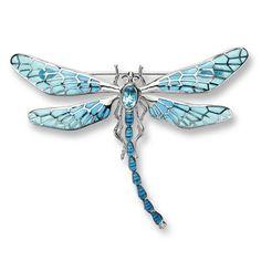 Enamel Dragonfly Brooch with Blue Topaz