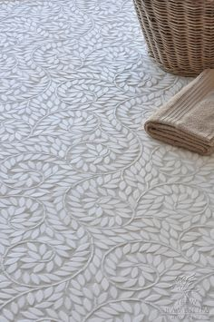 Jacqueline Vine handcrafted mosaic floor in Thassos tumbled