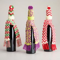 One of my favorite discoveries at WorldMarket.com: Scarf and Hat Bottle Outfits, Set of 3.  (These would work for Elf on the Shelf dolls!)