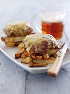 Welsh Lamb burgers topped with Welsh rarebit