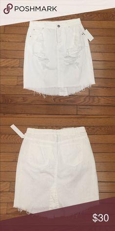 "Lab design distressed denim skirt Distressed white denim skirt 18"" front 20""back Lab design Skirts Midi"
