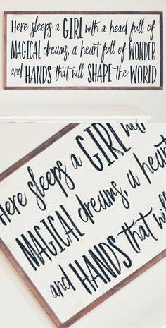 Ideas For Baby Girl Nursery Signs Diy Sleep Rustic Girls Bedroom, Rustic Nursery Decor, Girl Bedroom Walls, Bedroom Signs, Nursery Signs, Bedroom Decor, Bedroom Ideas, Bedrooms, Girls Room Paint