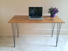 36x20 Small Hairpin Desk Wood Hairpin Desk by goldenrulenyc