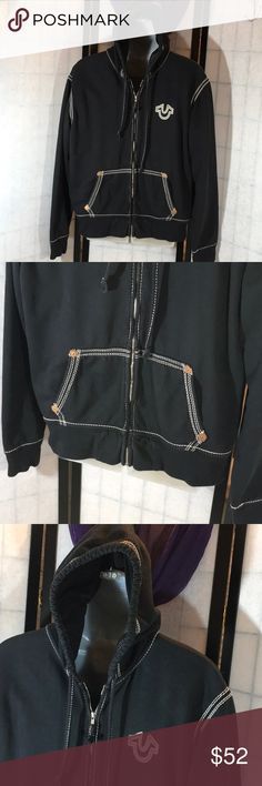 "True Religion black hoodie Black cotton with lots of white thread outlines, full front zipper, ribbed cuffs and hem, 2 front pockets, fleece lined, lined hood, unisex, size XXXL, measured flat app: pits 26"", length 27"", good condition (T-46) True Religion Shirts Sweatshirts & Hoodies"
