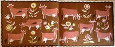 """Endpapers from """"Brown Cow Farm"""", Dahlov Ipcar 1959"""