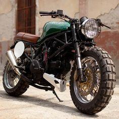 Ducati 900ss scrambler-style custom motorcycle.
