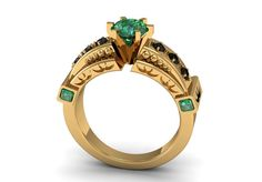 14k Yellow Gold Classic Beautiful Bridal Ring for Women with Black Diamonds and Emeralds Item# WR-0165