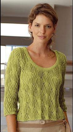 Модели вязания со схемами и описаниями: Очень красивый пуловер спицами.