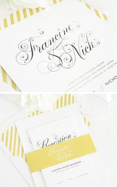 Gold Wedding Invitations #weddinginvitations #invitations #yellowwedding yellow wedding invitations - http://www.shineweddinginvitations.com/wedding-invitations/glamorous-script-wedding-invitation