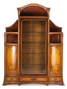 """LOUIS MAJORELLE (1859 - 1926) Massive marquetry vitrine with poppies, France, ca. 1900, unmarked, 103"""" x 75"""" x 17 1/2"""""""